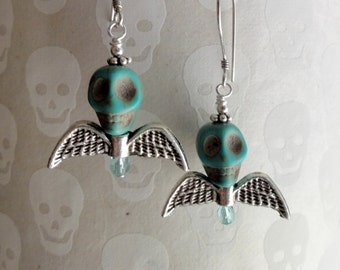 Winged Skull Earrings - Turquoise Skull Bat Wing Earrings - Dia de los Muertos Earrings