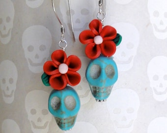 Dia de los Muertos Earrings - Turquoise Blue Skull w/ Red Flower