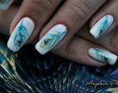 Peacock Feather Artificial Nail Art
