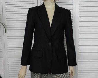 Vintage Jacket Black Pendleton Virgin Wool Jacket 1990s Single Breasted