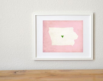 Iowa Silhouette State Map Customizable Personalized Map Art 8x10 Print