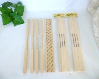 Three Sets Of Dollhouse Veranda Posts And One Piece Of