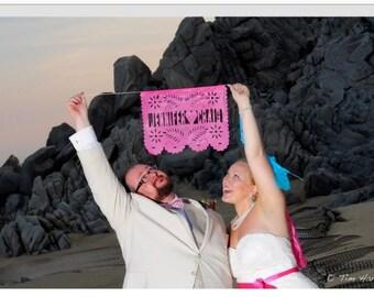 2 Custom Papel Picado Wedding - Bride & Groom Announcement Banner