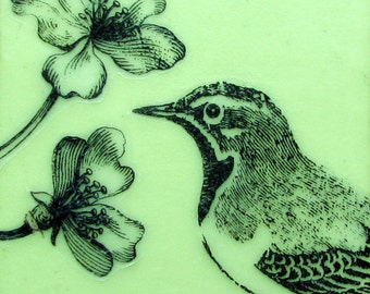 Bird and Flowers Encaustic Painting