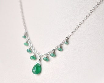 Genuine Emerald Necklace- Sterling Silver Necklace- Emerald Green Necklace- Natural Emerald Necklace- Dainty Delicate- Silver and Emerald