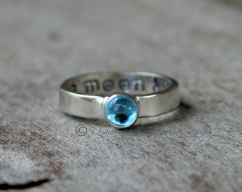 To The Moon And Back Birthstone Ring - Sterling Silver Ring - Mommy Ring - Childrens ring - Mother Daughter Jewelry