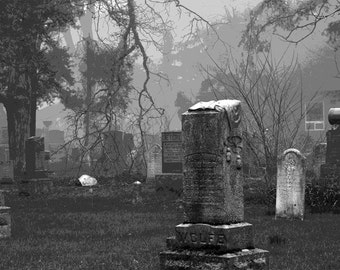 Gravestone Art, Black and White, Photography, Monochrome, Tombstone Photos, Graveyard Photos, Historic Graveyard, Creepy, Foggy, Dark, Art