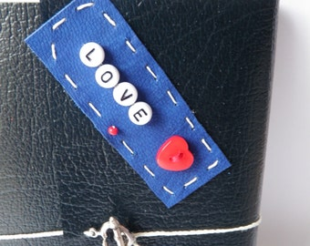 LOVE Beaded Patchwork Navy Blue Leather Journal with Red Heart and Funky Heart And Arrow Fastening