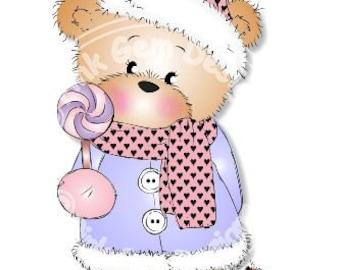 Digital (Digi) Bella with Candy  Stamp. Makes Cute Christmas Cards. Teddy Bear