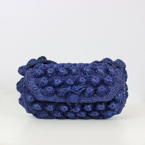 ... straw barrel bag  woven handbag  raffia bag  navy blue straw purse
