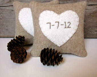 Personalized Date Pillow Rustic Balsam Heart Pillow for Wedding, Bridal Shower, Anniversary Gift