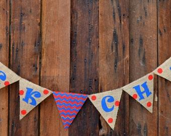 ROCK CHALK Burlap Banner for University of Kansas