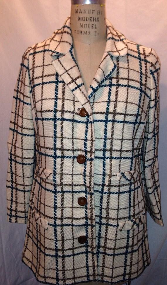 Vintage 70s Burlap Plaid Suit Jacket Size M Sale c10