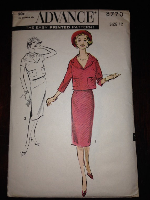 Advance 50s Sewing Pattern 8770 Rare Misses Two Piece Dress Size12