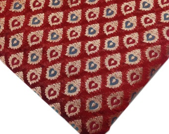 Red Cyan and Gold Chanderi Silk Fabric - Jari Weaving Banaras Silk Fabric by Yard