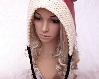 Fox Hand Knitted Hat Adult Elf Pixie Hood Hat Chunky Forest Terracotta Ginger Woodland Sheep Wool