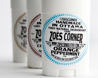 Deodorant -Orange Peppermint 100% Natural  Deodorant - Made with Local Beeswax & Local Sunflower Oil