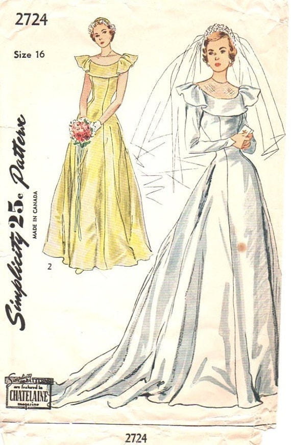 Simplicity 2724 sewing pattern 1940s wedding gown bridesmaid for 1940s wedding dress patterns