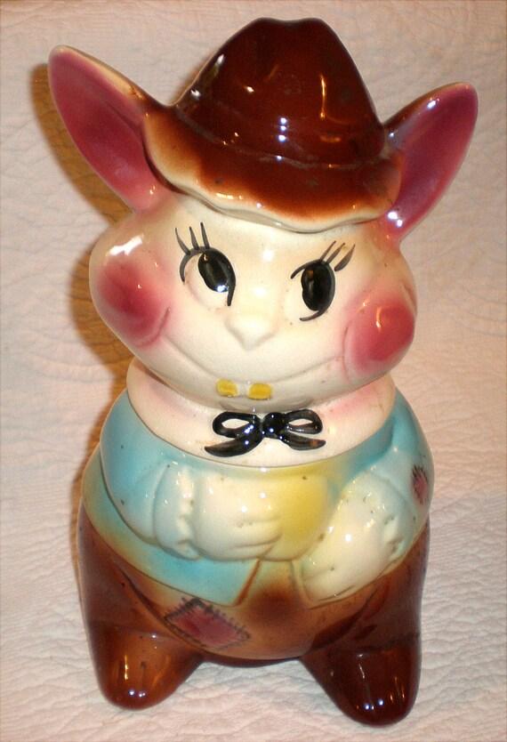 Bunny Rabbit Cookie Jar Nice Eyes