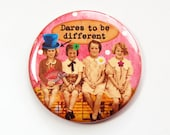 Funny mirror, Pocket mirror, Dares to be different, Purse mirror, glass mirror, mirror, pink, gift for best friend, gift for friend (3590)