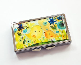 Pill case, Pill box, Pill Container, Yellow, pill case for purse, 7 sections, 7 day, birds, yellow pill case, 7 day case (3813)