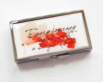 Pill box, 7 sections, Pill case, 7 day, Inspirational Saying, Inspirational Words, Journey, Kellys Magnets, red (3851)