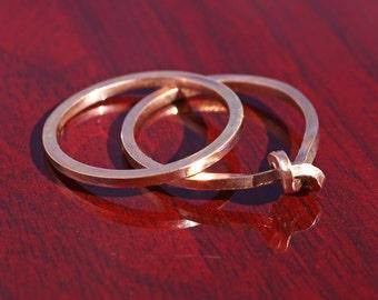 Rose Gold Wedding Set / 14k Rose Gold Knot Ring / Unique Wedding Ring Set