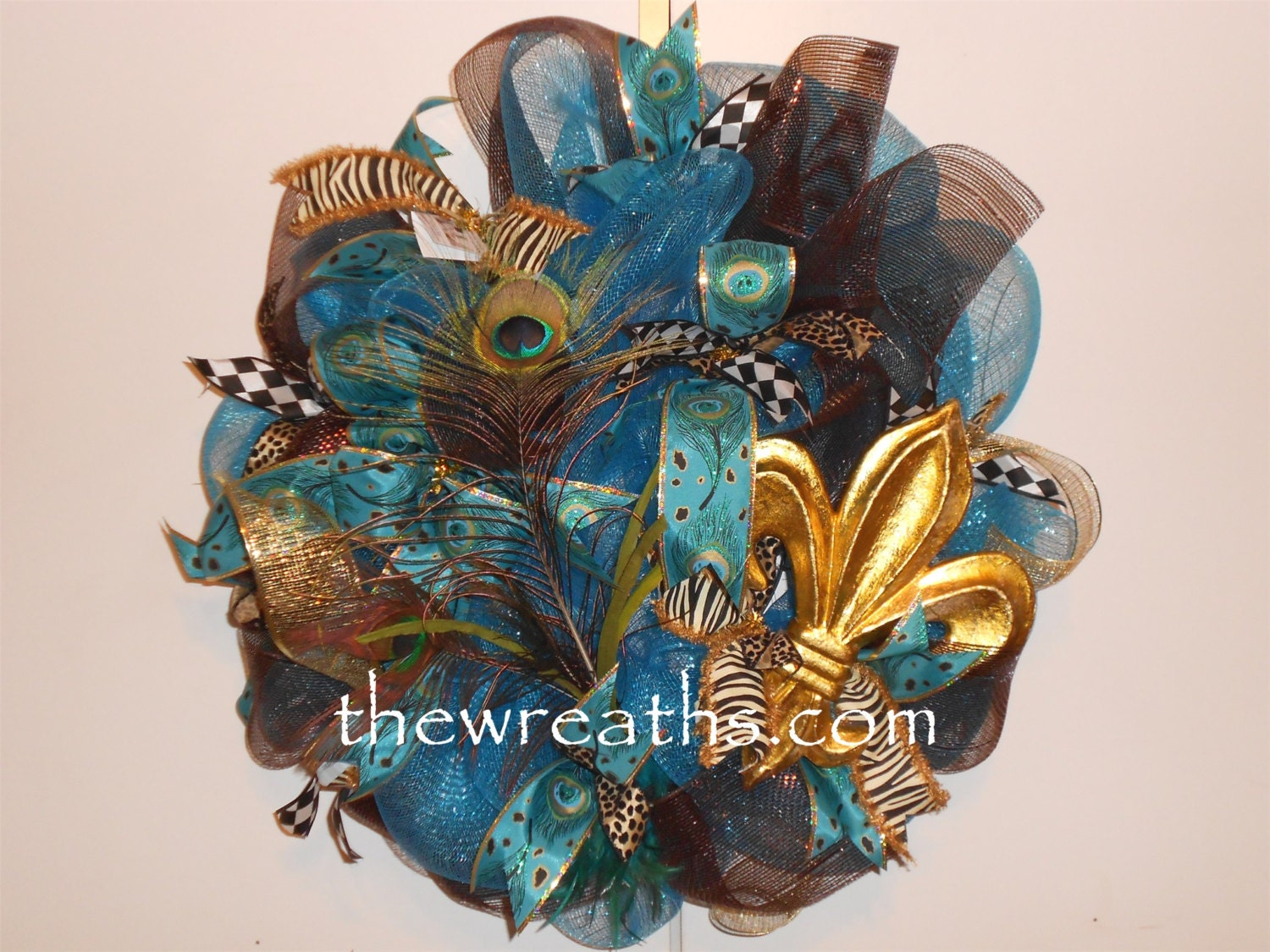 peacock wreath peacock mesh wreath with fleur de lis by thewreaths. Black Bedroom Furniture Sets. Home Design Ideas