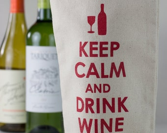 Wine Tote - Recycled Cotton Canvas - Keep Calm & Drink Wine, Red