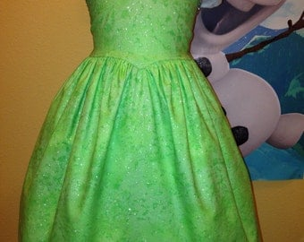 Tinker Bell Dress - Glittery Tinkerbell Inspired Dress Tinker Bell Costume