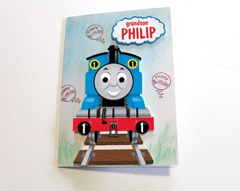 Thomas the Train and Friends Birthday Card - Personalized for Kids Handmade Greeting Card for boys Custom Made with Thomas Train