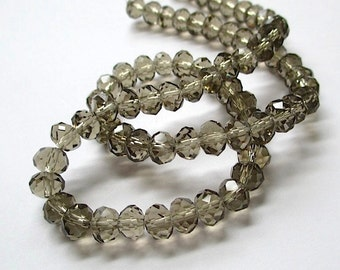 Smoky Glass Beads 8mm by 6mm Faceted Rondelles - 35 Pieces