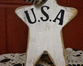 Wood Star Ornament, Patriotic Decorations, Americana Star, U.S.A Sign,