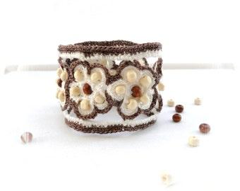 Crochet Bracelet - Beaded Bracelet - Crochet Cuff - Linen Bracelet - Cotton Bracelet