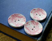 "CLEARANCE 8 LARGE Wooden Pink and White Floral Paisely Flower Buttons Big Large 40mm 4cm 1 5'8""  (WB2120)"