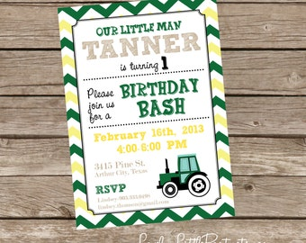 DIY Printable Little Man Tractor Birthday Invitation - Lovely Little Party