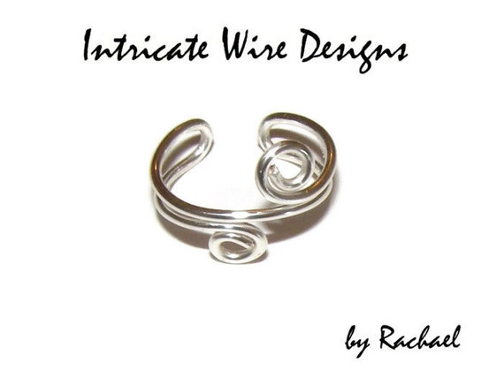 Jewelry, Sterling Silver, Wire Wrapped Ring, Thumb Ring, Toe Ring, Silver, Swirl. Wire Wrapped Rings by IntricateWireDesigns on Etsy.