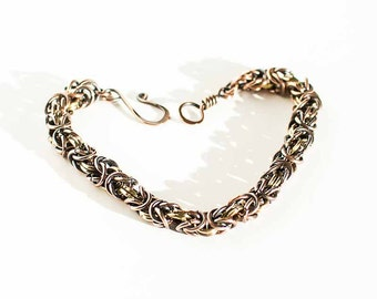 """Byzantine Chainmaille Bracelet Antiqued Copper Brass Rings Byzantine Style - 7 1/2"""" Chain Maille Mail Copper Brass Bracelet"""