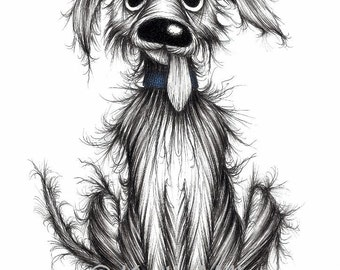 Bad dog Print download Badly behaved scruffy naughty mischievous pet pooch with sticky out tongue who's been up to no good