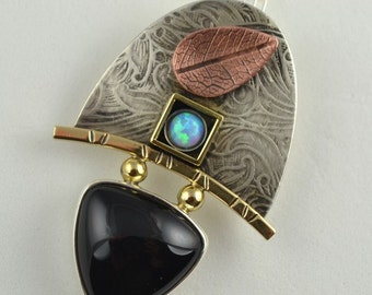 Mixed Metal Pendant - Opal Jewelry - Copper Leaf Pendant - Art Jewelry