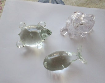 3 glass figurines, Frog, turtle, Whale. Paper weight or room decor. 5.00 EACH.