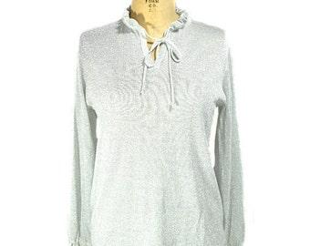 vintage 1970s silver lurex sweater / Joyce / metallic shimmer / holidays nye sweater / lightweight / women's vintage sweater / size xl