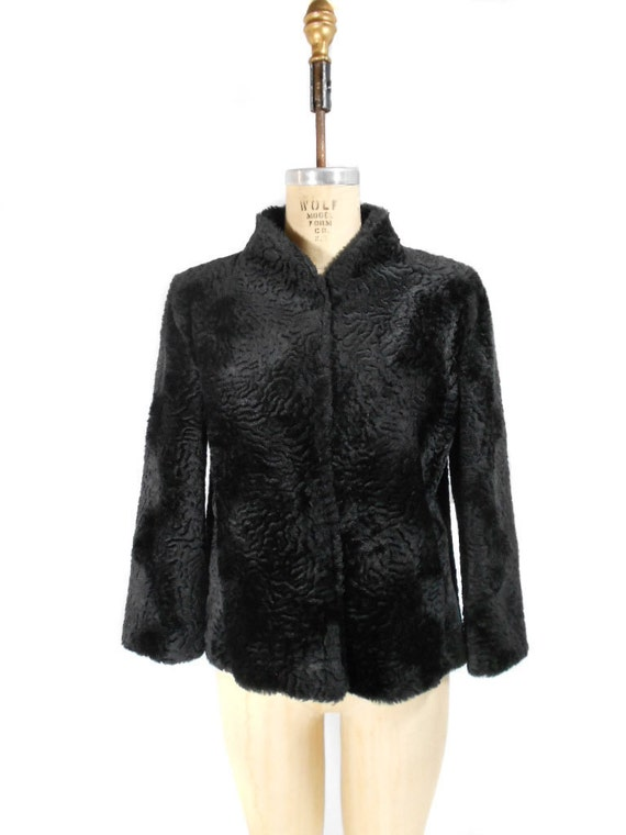 1960s Betmar Faux Fur Coat / Black Persian Lamb / Mad Men / Winter Coat / Hollywood Glamour / Womens Vintage Coat / Size Small