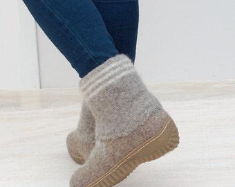 Felted wool boots cappuchino gray green - Organic wool felt booties