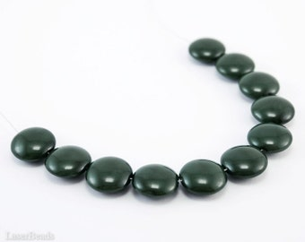 Moss Green Lentil Glass Beads 14mm (10) Opaque Pressed Czech Flat Round Disc Coated Earth Tones