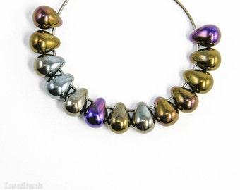 Teardrop Beads 6mm (50) Czech Iris Brown Glass, Small Metallic
