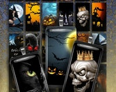 HALLOWEEN PARTY 2 - Digital Collage Sheet 1x2 inch Printable Download images for for domino Pendants, Magnets, Bezel setting