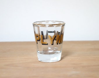 Plymouth Vintage Shot Glass, Jigger, Gold Typography, Beveled, USA, Barware