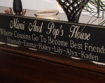 Grandparent Sign, Personalized To Meet Your Needs With Grandparent' Names and Grandchildren's Names, Solid wood  Hand painted, Priority Ship