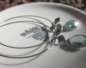 Aqua Hoop Earrings-Silver Hoops-Silver Hoop Earrings-Blue Earrings-Bridal-Gift-Wedding